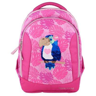 Top Model - Skoletaske Med Papegøje Motiv Og Pailletter - Pink