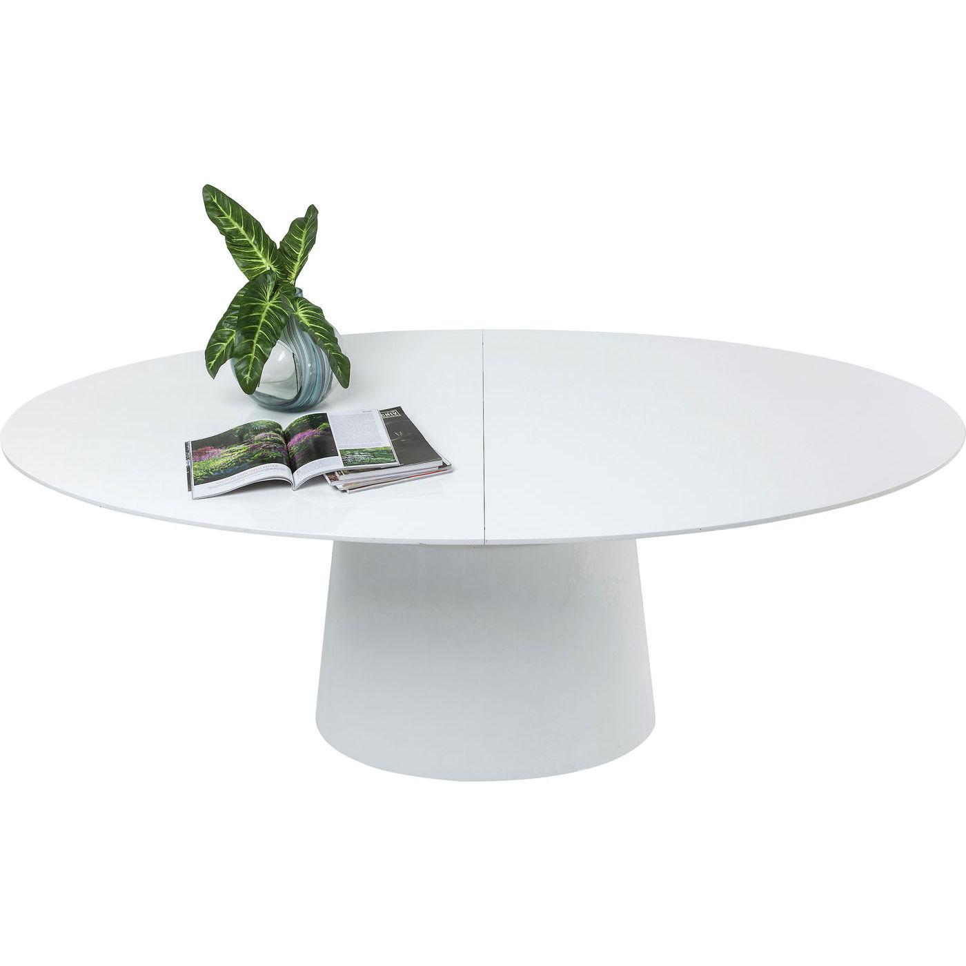 KARE DESIGN Extension Benvenuto ovalt spisebord - hvid hjglans tr, m. butterflyplade (200(50)x110)