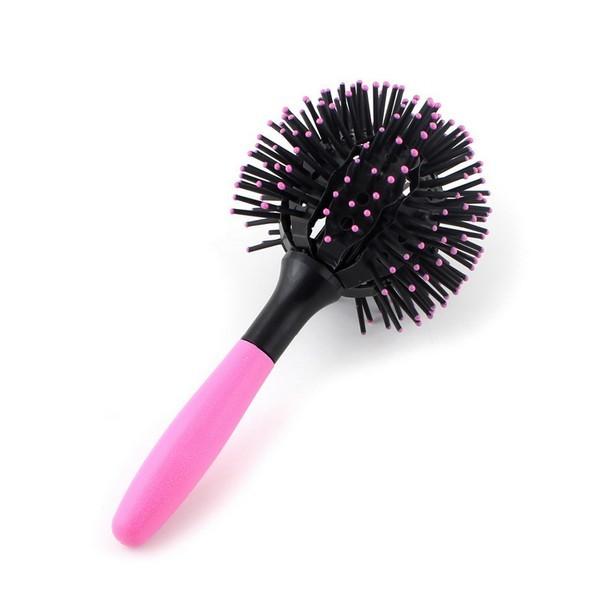 Curly Brush - 3D Bomb Brush Hårbørste - Pink