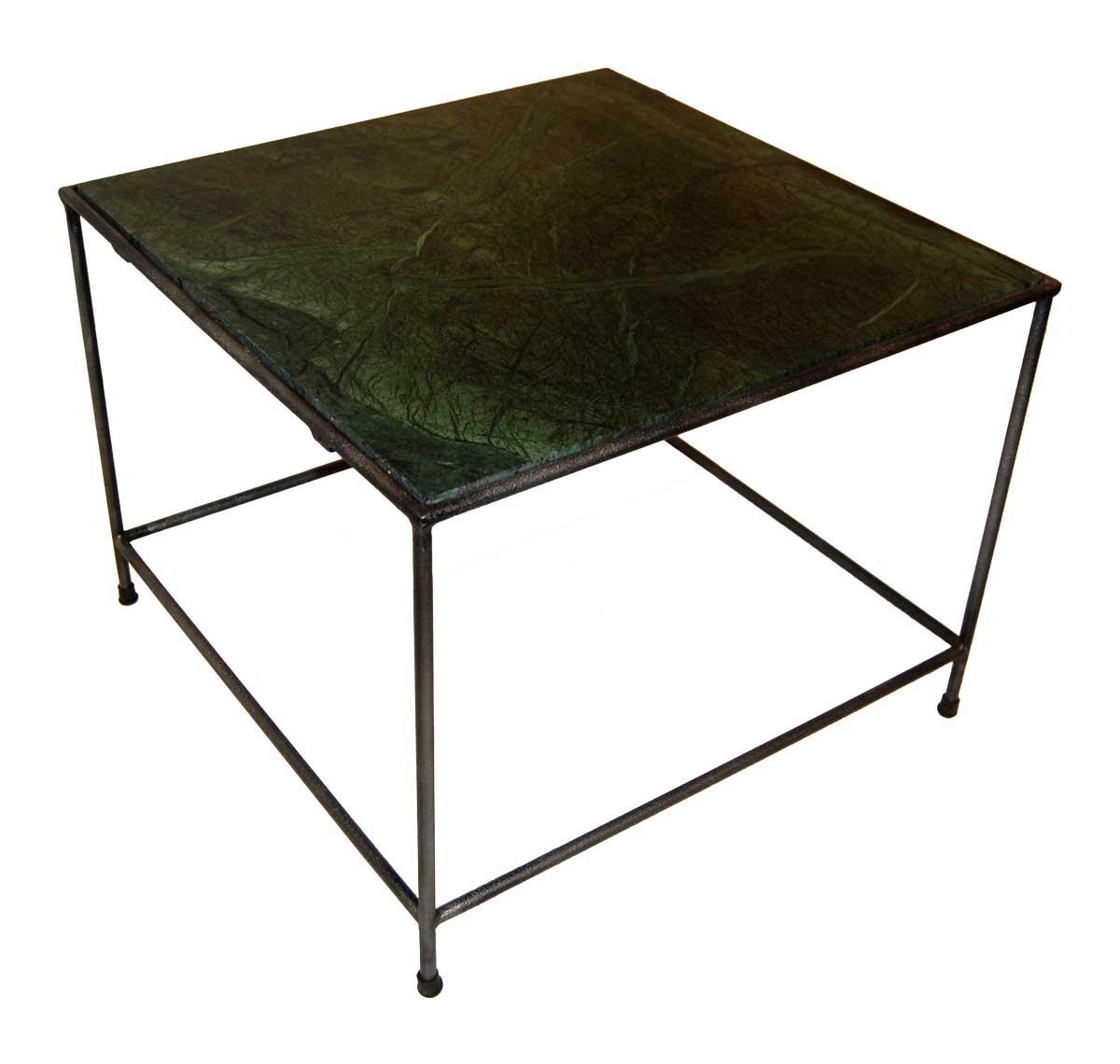 TRADEMARK LIVING sofabord - grn marmorplade og jernstel (60x60)