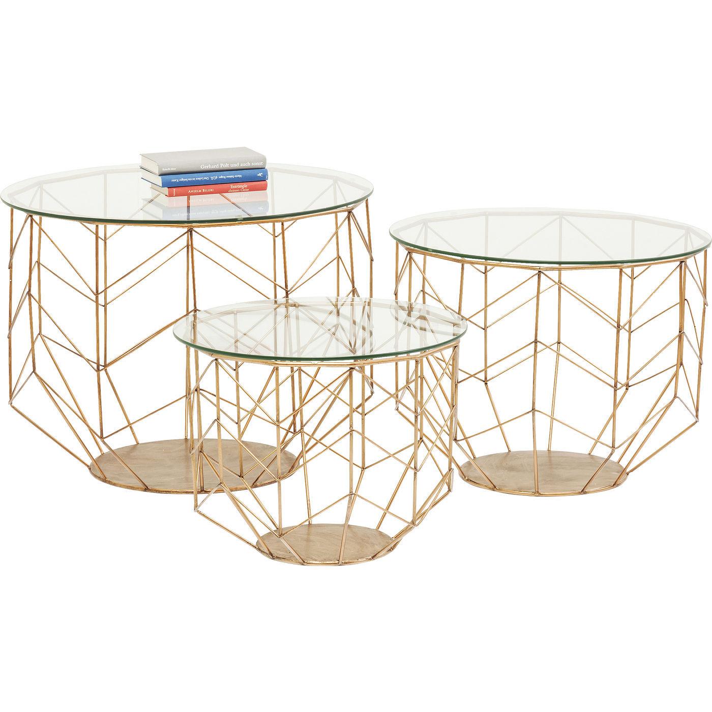 KARE DESIGN Wire Grid Brass sofabord - glasplade og messing, rund (st m. 3)