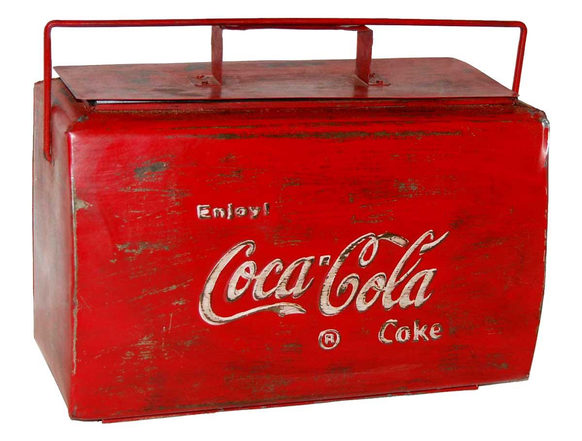 TRADEMARK LIVING Vintage kleboks - rdt jern m. patina, m. Coca Cola print, m. hndtag og lg
