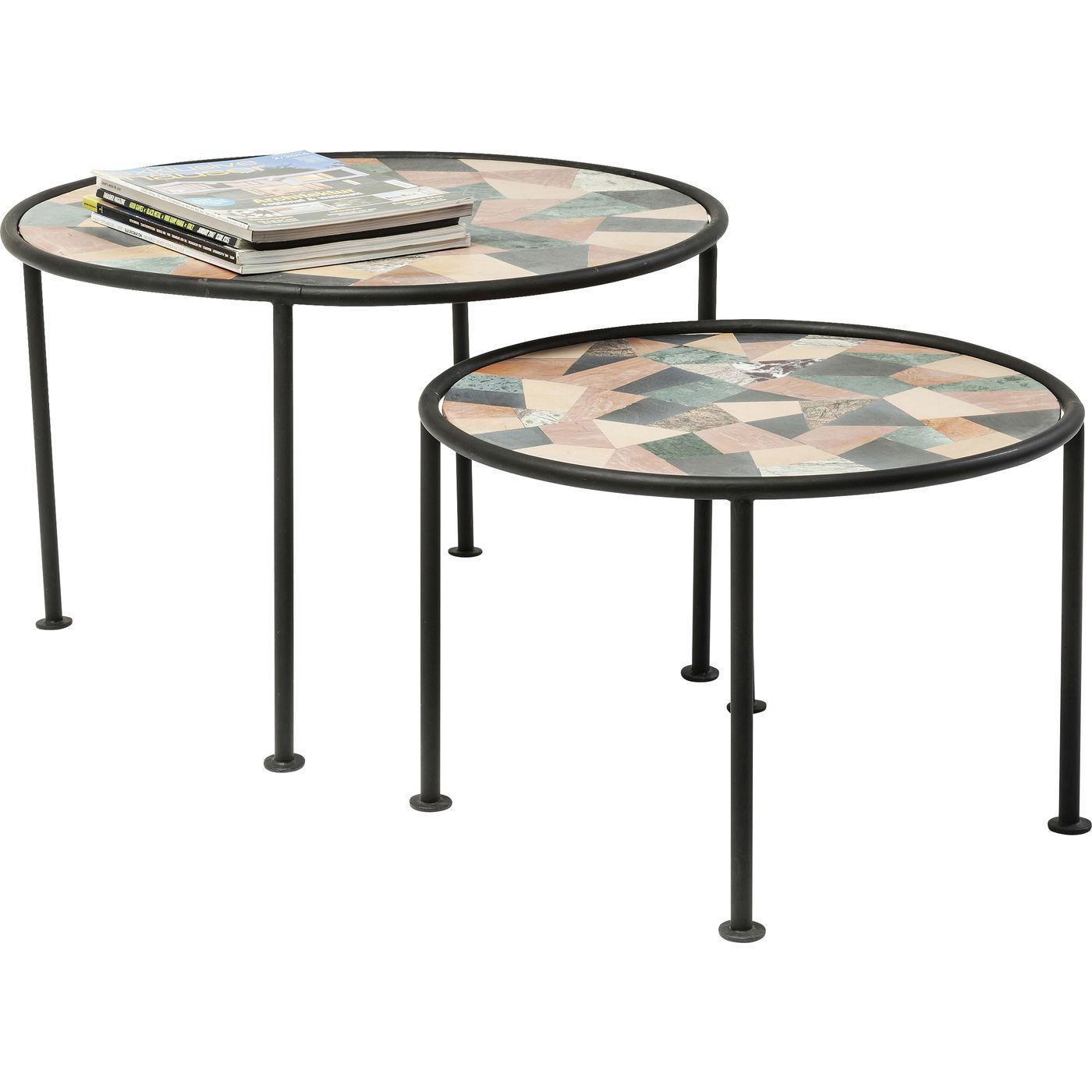 KARE DESIGN Coccio sofabordsst - multifarvet metal, mosaik, rund (st m. 2)