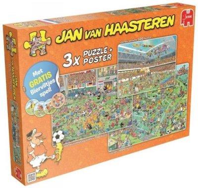 Jan Van Haasteren - 3 Fodbold Puslespil Med Plakat