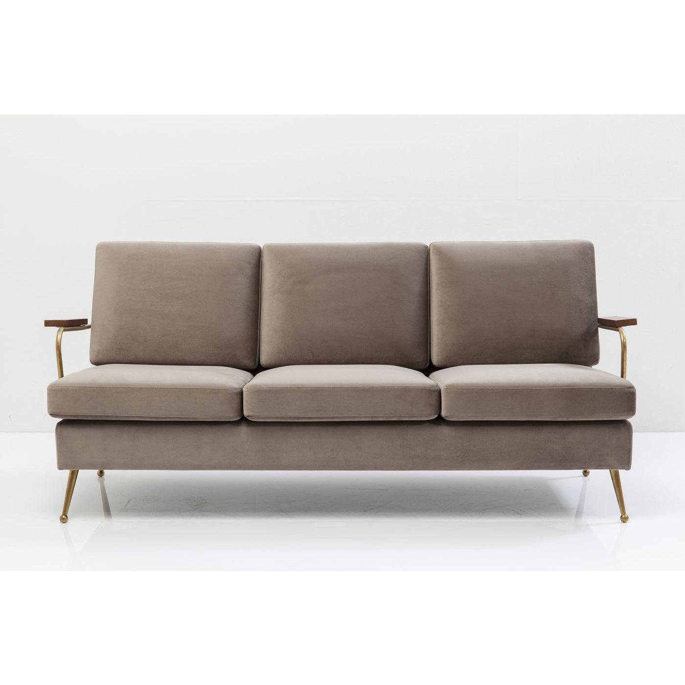 KARE DESIGN Gamble Sand 3-personers sofa - sand stof/messing stl, m. armln