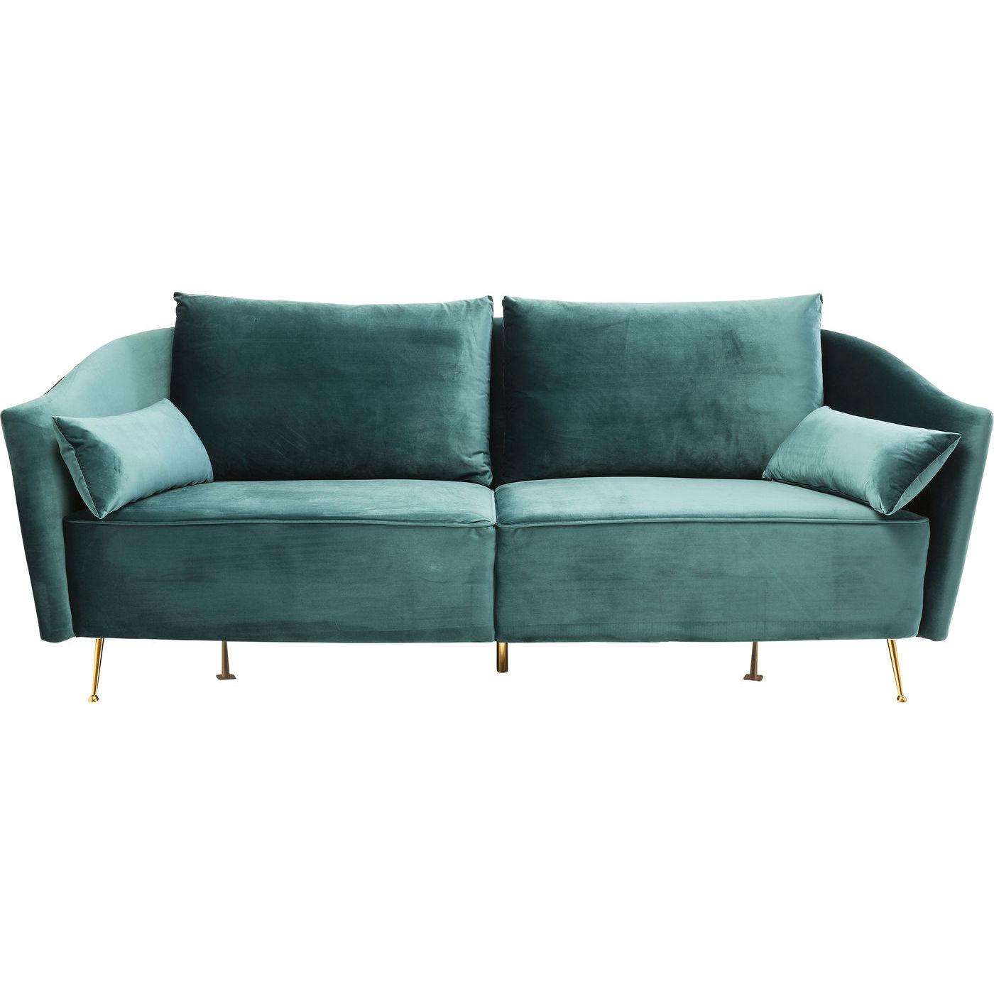 KARE DESIGN Vegas Forever Bluegreen 3-personers sofa - bl/grnt stof og guld stl, m. armln