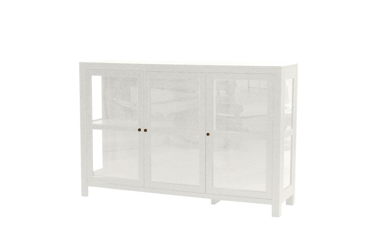 Wima vitrineskab - hvidt tr m. 3 glaslger
