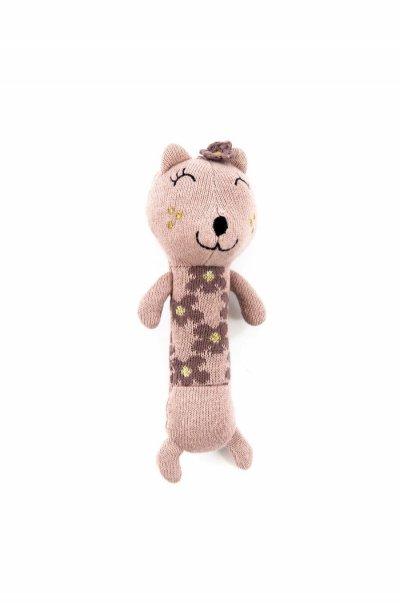 Smallstuff - Maracas Crochet Rattle - Cat, Powder/Gold