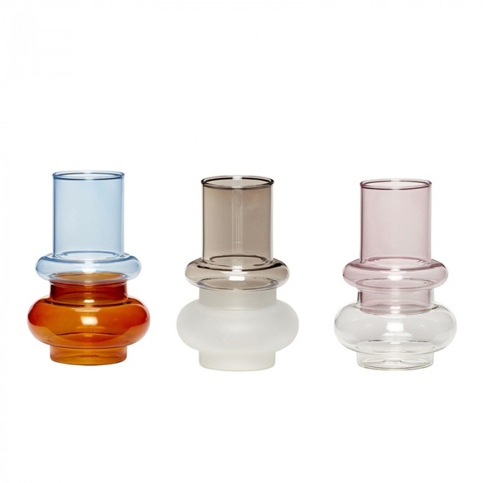 Hübsch vase (glas/blå/ravgul/lyserød/klar/røget/frost/3 stk)