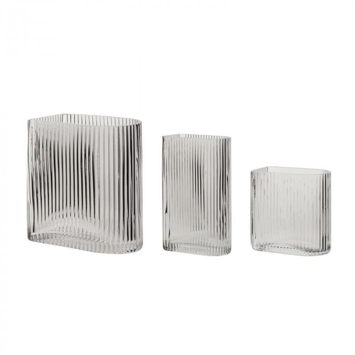 Hübsch vase (glas/klar/3 stk/12x7xh13/16x9xh18/12x7xh20cm)