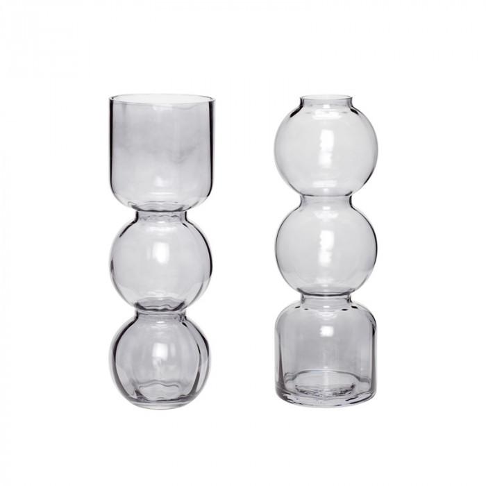 Hübsch vase (glas/røget/2 stk/ø12xh25/ø12xh25cm)