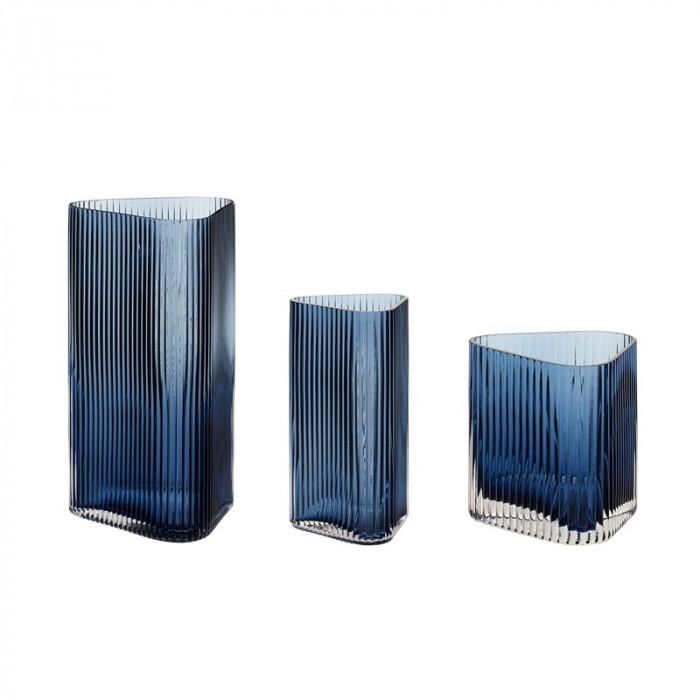 Hübsch vase (glas/blå/3 stk/10x10xh11/10x10xh20/15x14xh28cm)