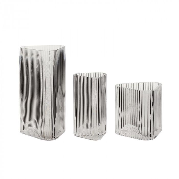 Hübsch vase (glas/klar/3 stk/10x10xh11/10x10xh20/15x14xh28cm)
