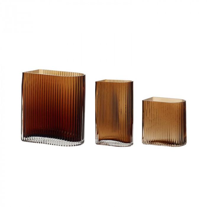 Hübsch vase (glas/ravgul/3 stk/12x7xh13/16x9xh18/12x7xh20cm)