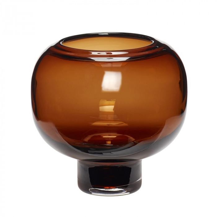 Hübsch vase (glas/ravgul/ø16xh16cm)