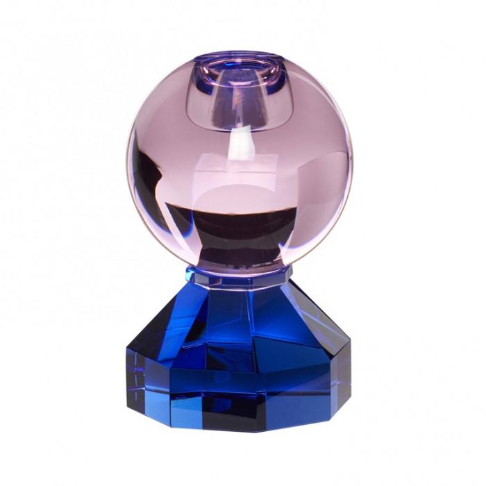 Hübsch lysestage (glas/blå/pink/ø7xh11cm)