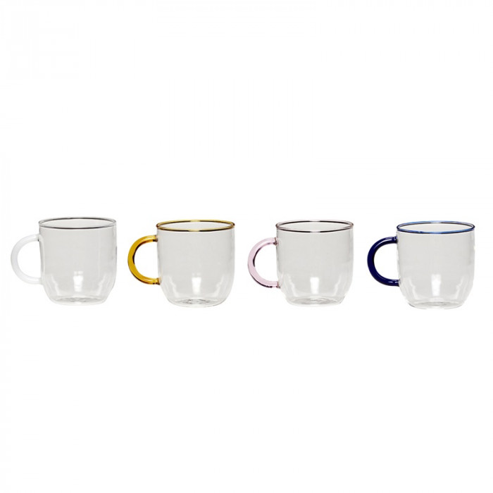 Hübsch glas m/hank (klar/blå/hvid/lyserød/ravgul/4 stk)