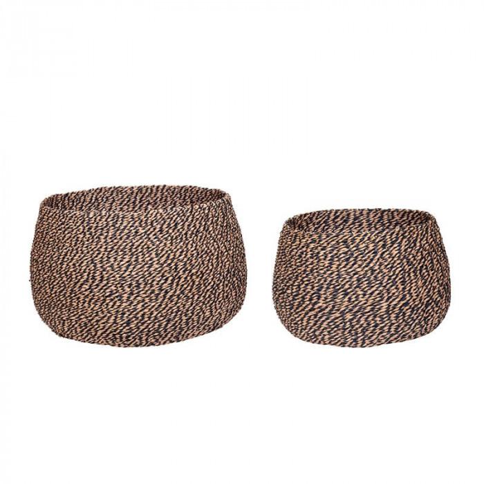 Hübsch kurv (flettet/papirsnor/lyserød/sort/2 stk)
