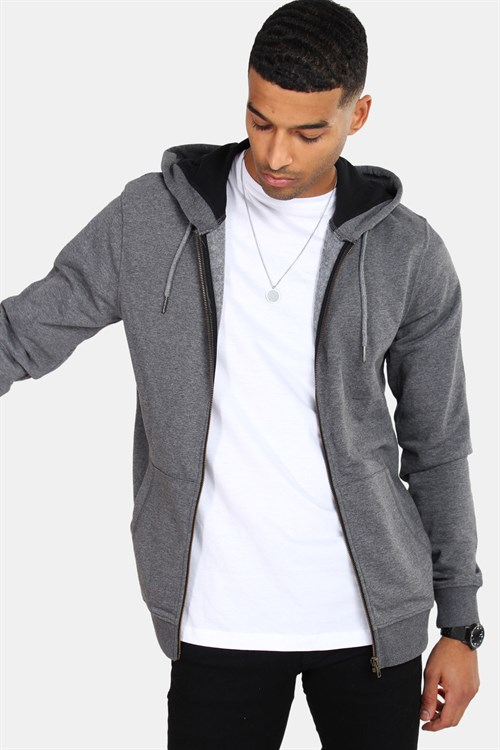 Only & Sons Basic Sweatshirt Zip Hoodie Dark Grey Melange