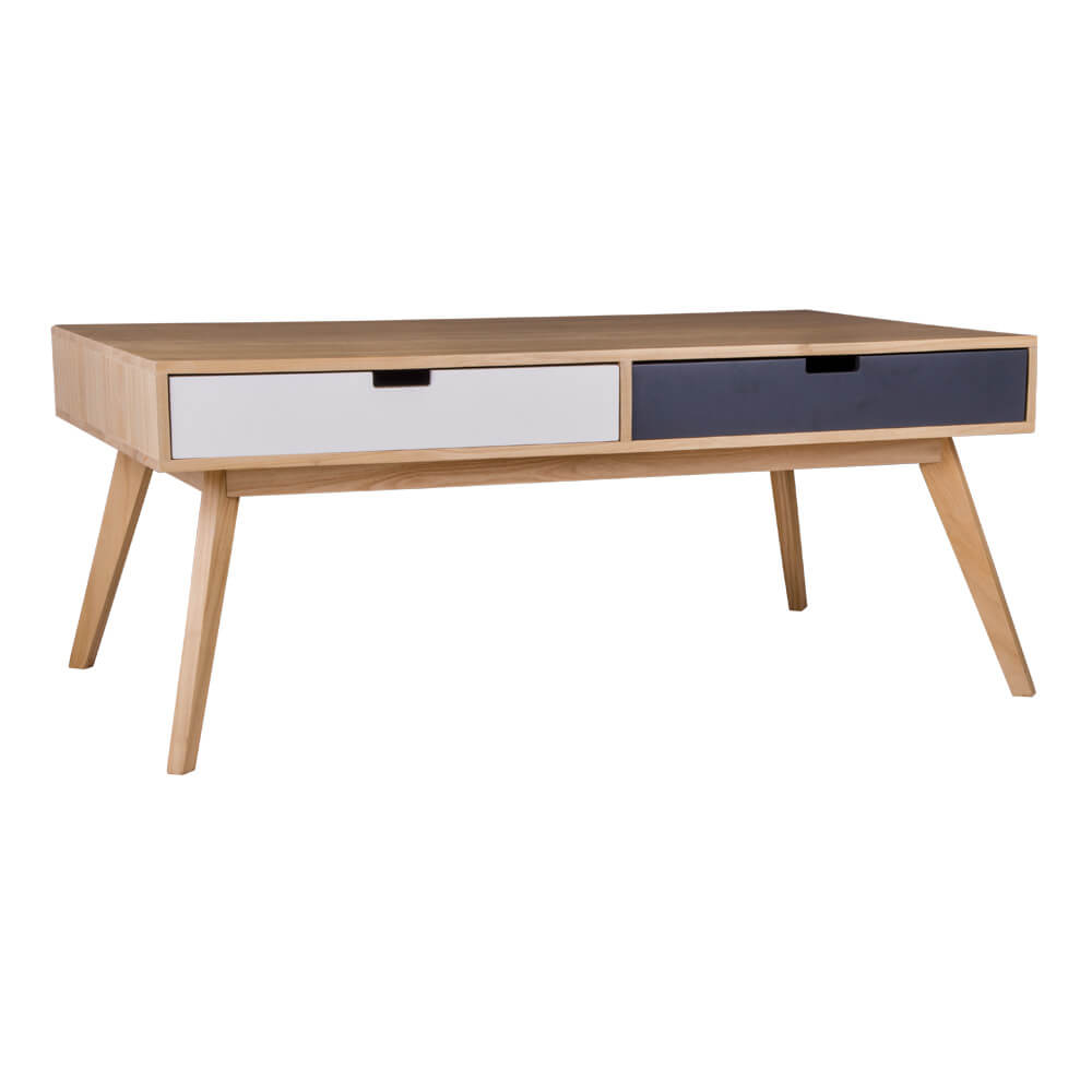 HOUSE NORDIC Milano sofabord - paulownia tr, m. 4 farvede skuffer (120x70)