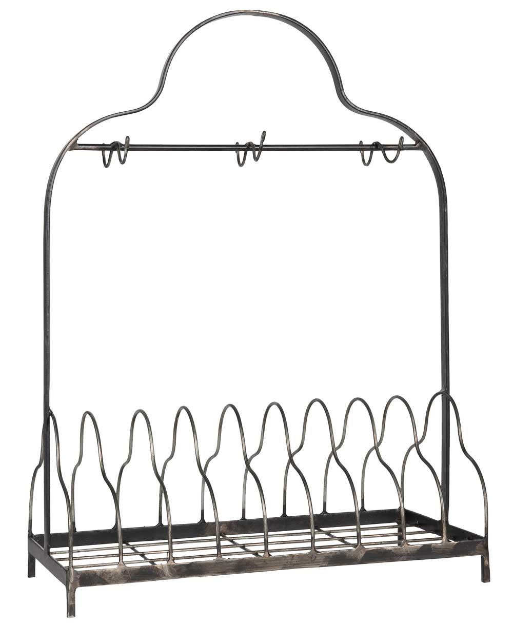 IB LAURSEN tallerkenholder - gr metal, m. 6 kroge, passer til 9 tallerkner, (54x21cm)