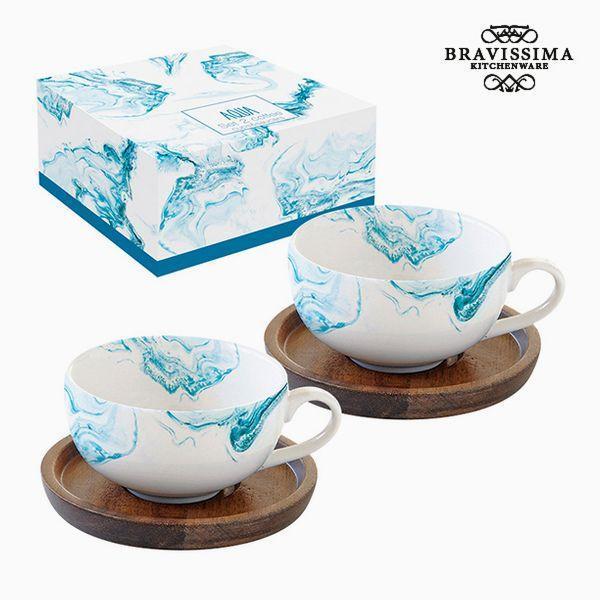 Sæt med 2 kopper og underkopper Porcelæn by Bravissima Kitchen