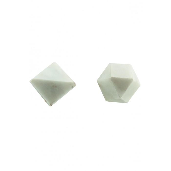 House doctor knop cubes assorteret 2 designs hvid marmor ø22 cm