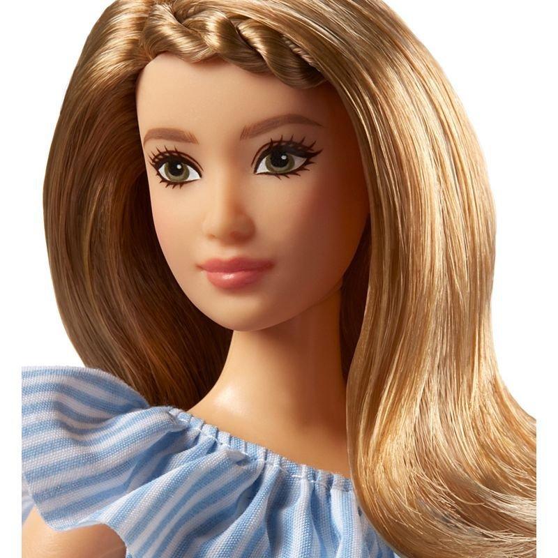 Barbie - Fashionista Doll - Blå Nålestribet