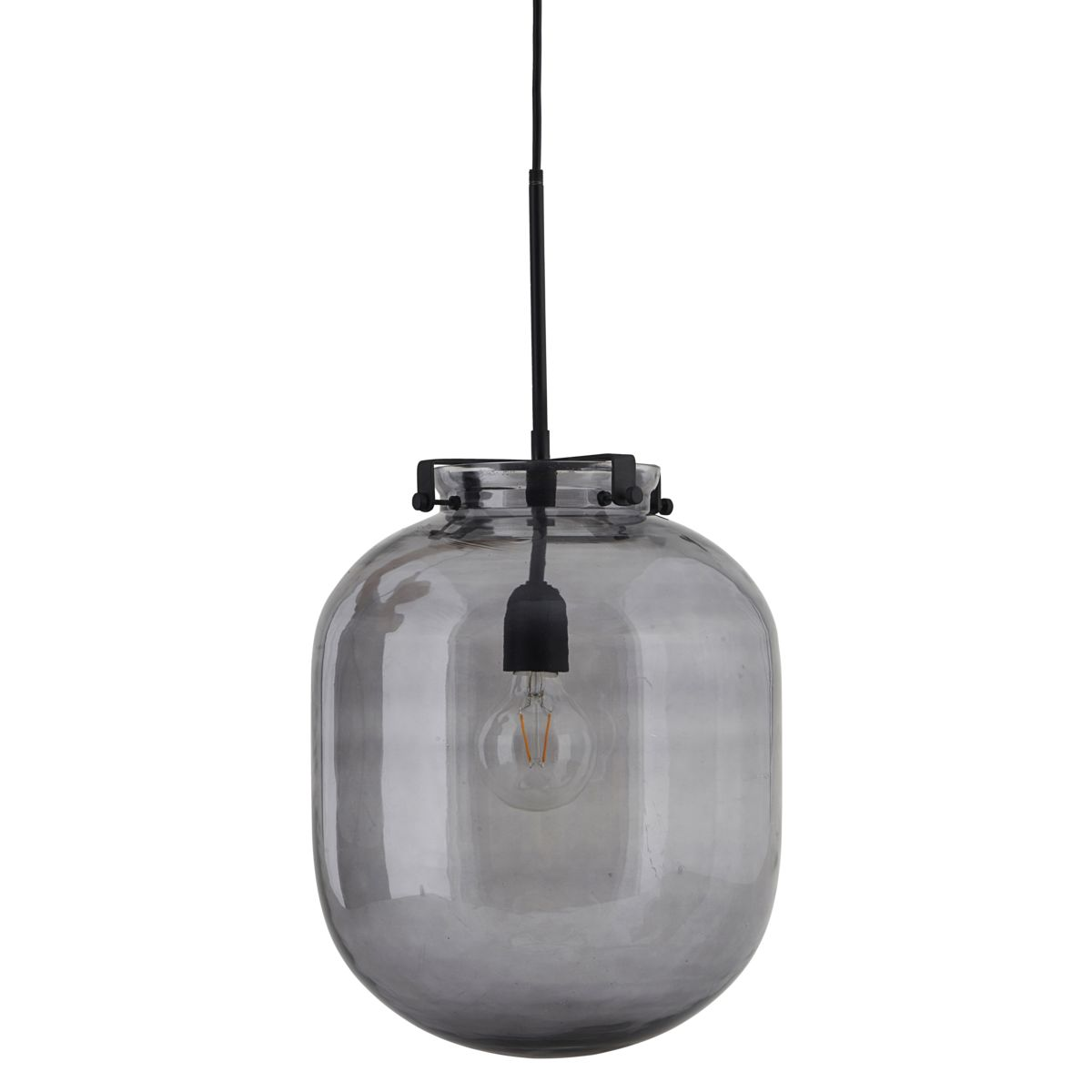 HOUSE DOCTOR Ball loftslampe - grt glas og sort metal, oval ( 30)