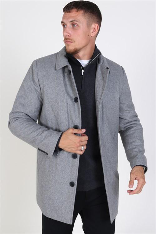 Clean Cut Halmstad Uldfrakke Light Grey Melange