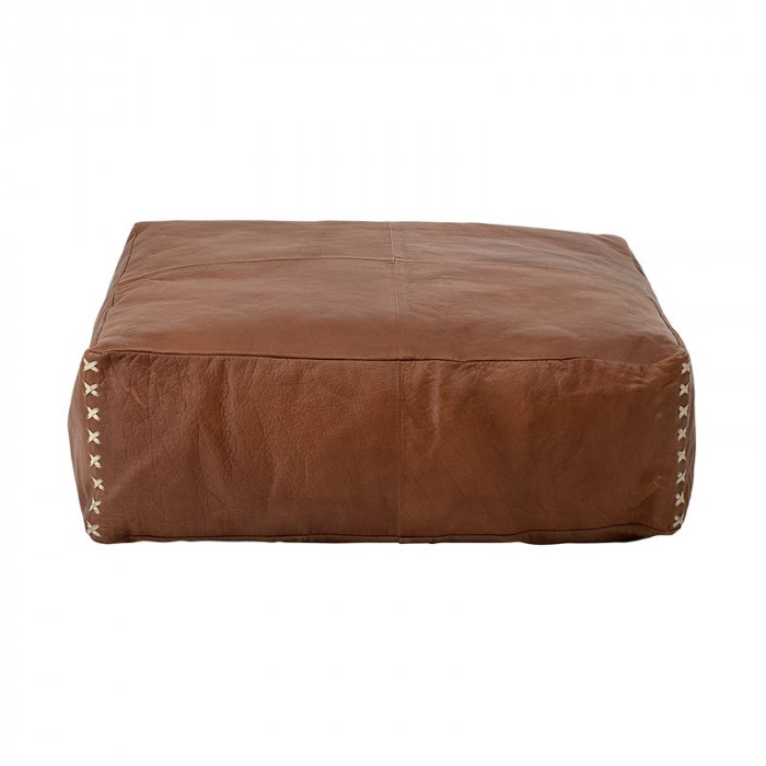 Bloomingville puf (brun/læder/l60xh20xb60 cm)