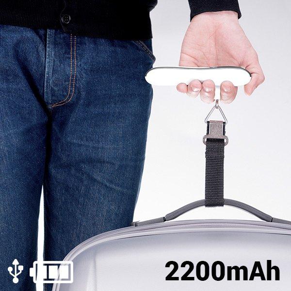 2-I-1 Kuffertvægt Og Powerbank - 2200 Mah - Hvid