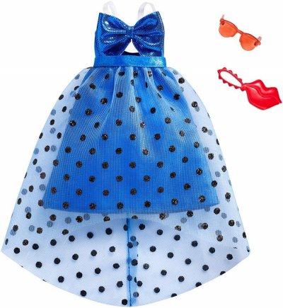 Barbie Dukketøj - Blå Dukkekjole Med Prikker