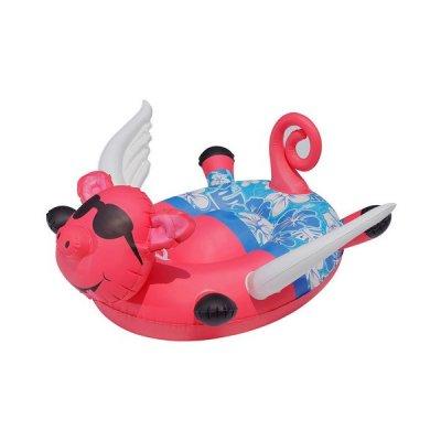 Oppustelig Badedyr Til Pool - Gris Med Vinger - Pink