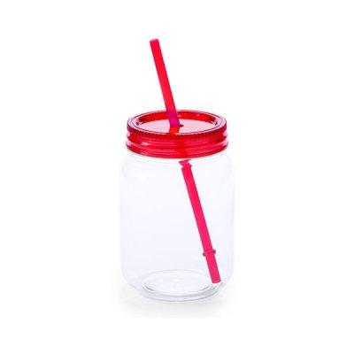 Glas Med Sugerør Og Skruelåg - 600 Ml - Rød