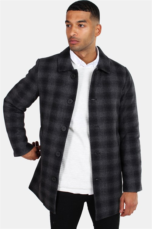 Clean Cut Halmstad Wool Frakke Grey Checked