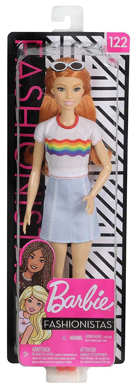 Barbie - Fashionista Dukke - Regnbue Top - Orange Hår