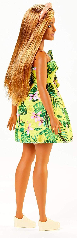 Barbie - Fashionista Dukke - Gul Blomster Kjole - Brunt Hår