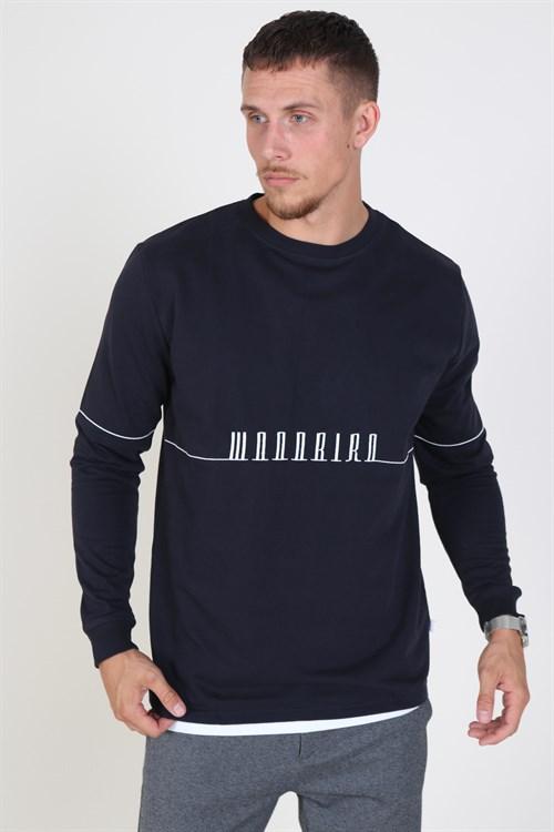 Woodbird Criks Bliks Crew Sweatshirt Navy