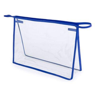 Toilettaske Med Lynlås Og Lille Håndtag - Plastik - Blå Gennemsigtig