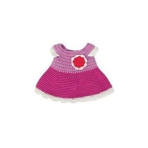 Sebra hæklet dukkekjole, rosa