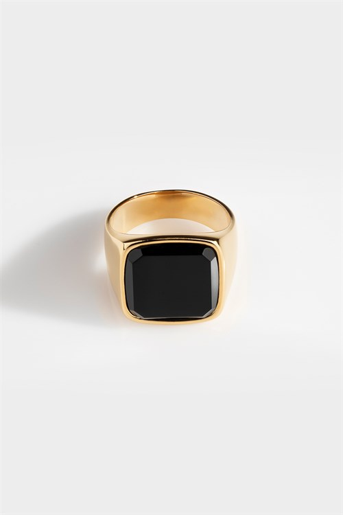 Northern Legacy Oversize Black Onyx Ring Gold
