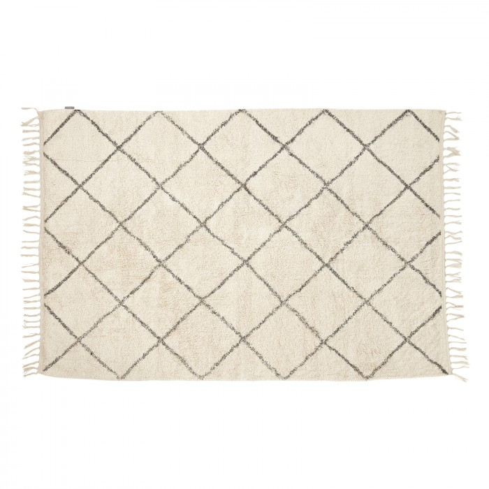Hübsch tæppe bomuld hvid/grå