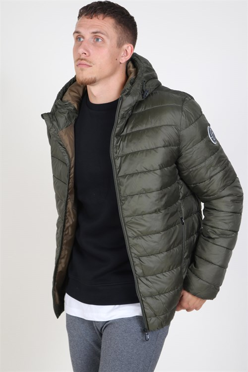 Only & Sons Steven Quilted Hood Jakke Forest Night