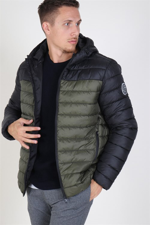 Only & Sons Steven Quilted Hood Jakke Forest Night/Colourbloc