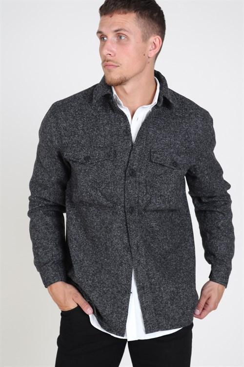 Solid Anton Overshirt Dark Grey Melange