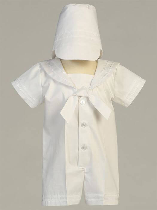 Sejlersæt med hat, hvidt str. 0-3 mdr. - Lito