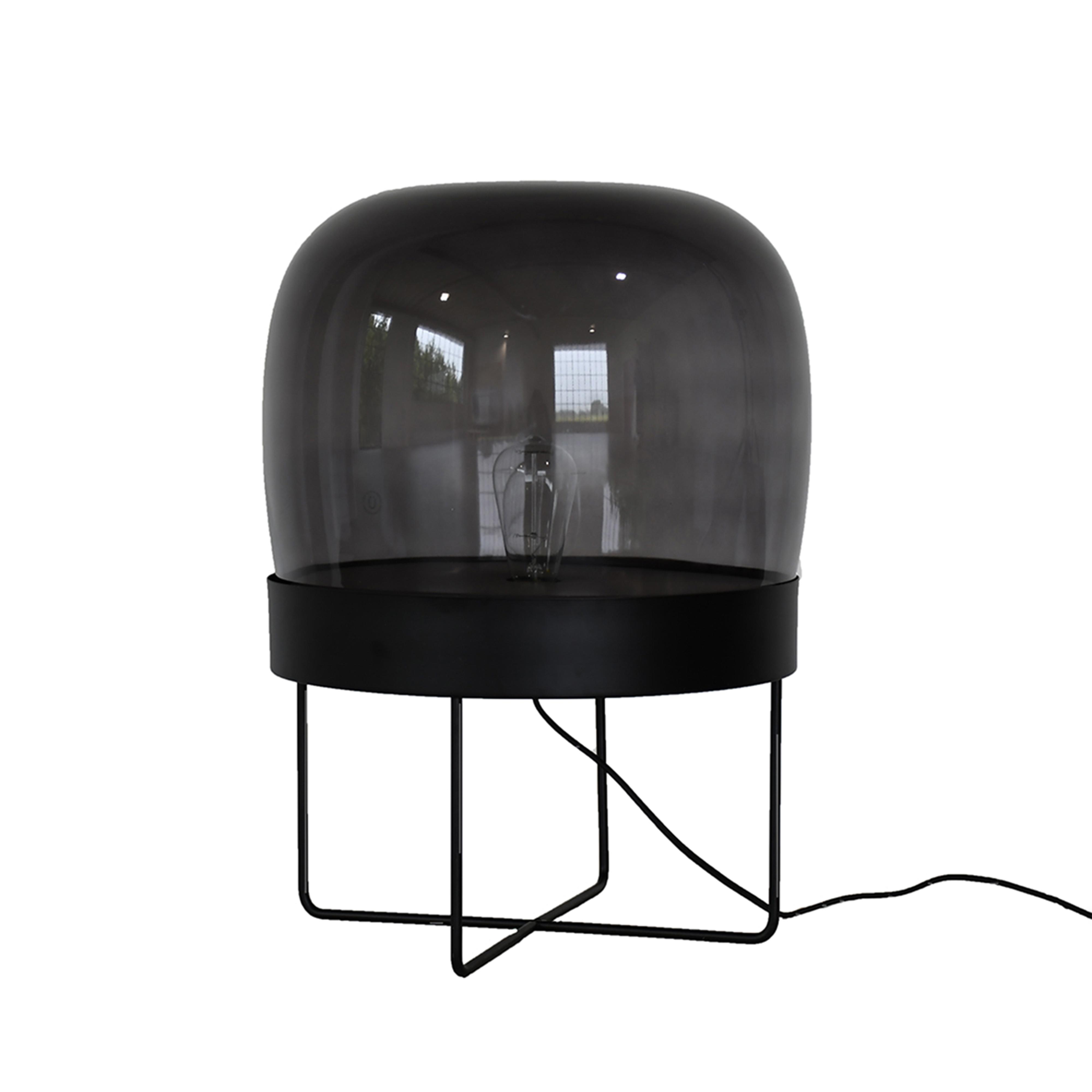 Floor lamp, metal/glass, black - Hübsch