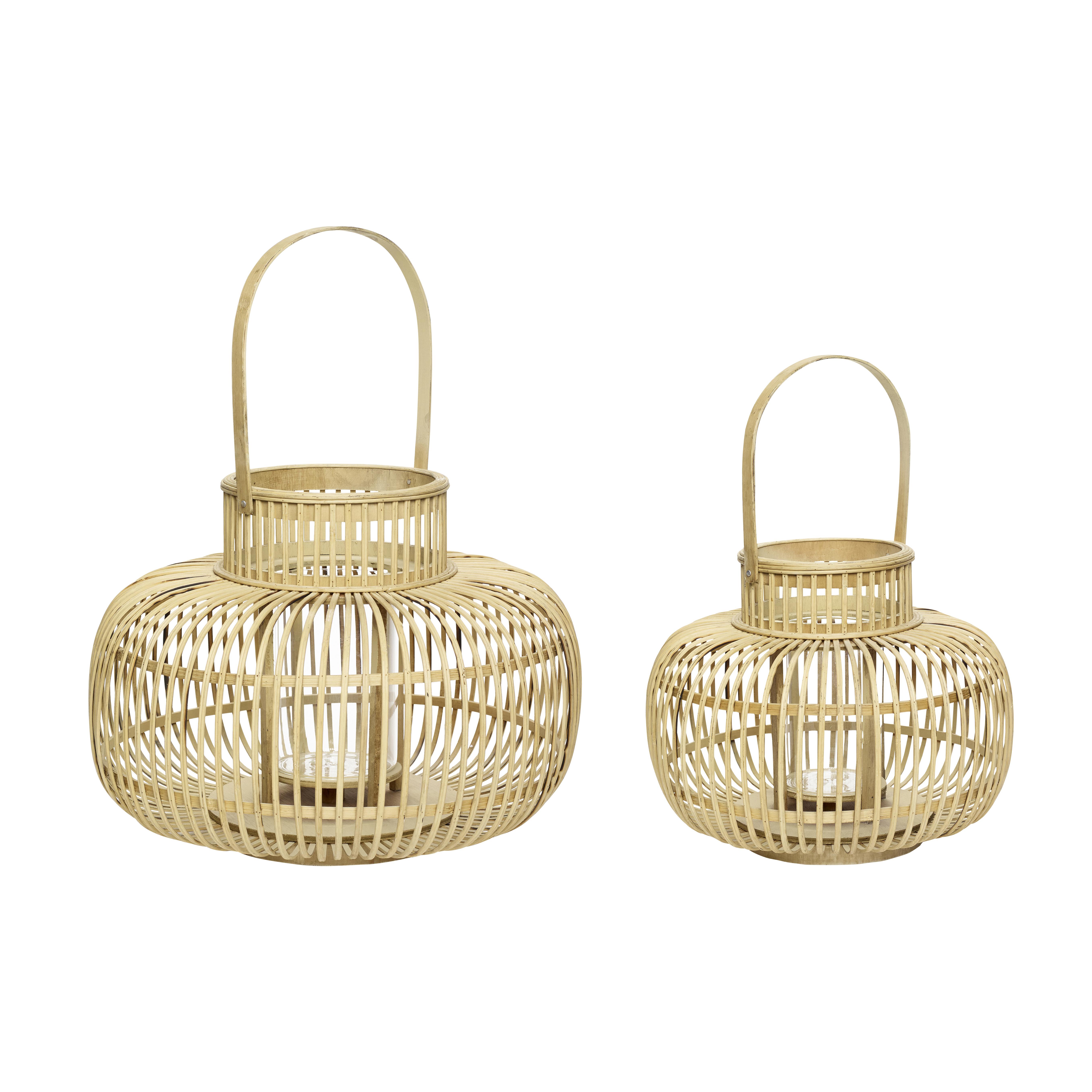 Lantern, bamboo, nature, s/2 - Hübsch.