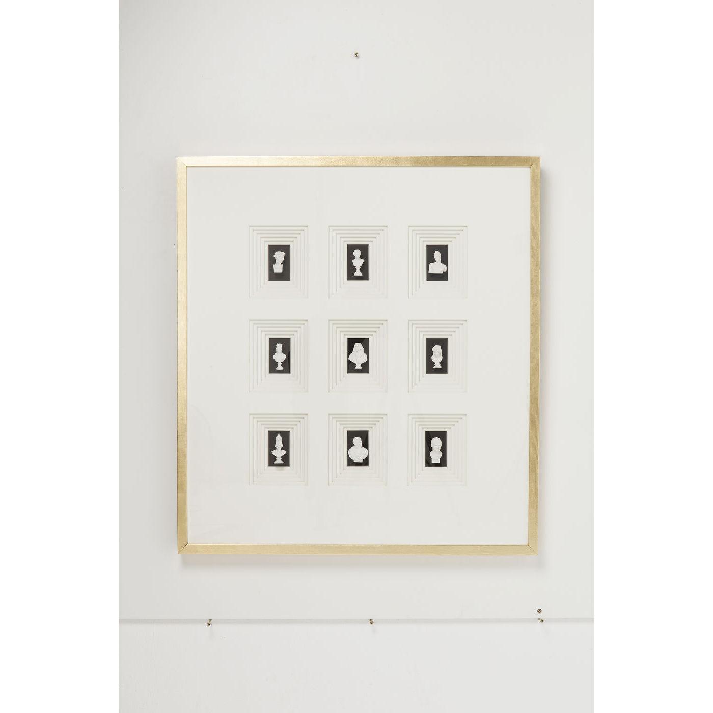 KARE DESIGN Ancient Art Nove vgdekoration - hvidt papir/polyresin, klart glas, guld tr (110x100)